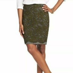 Loft Ann Taylor Pencil Skirt Lace Overlay Green Gr